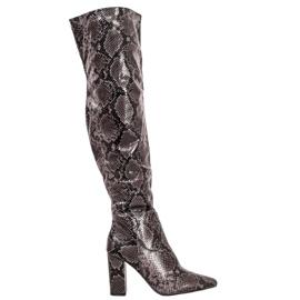Seastar Cizme peste genunchi imprimeu șarpe