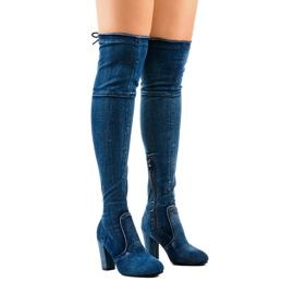 Cizme din denim clasice HX15135-3B albastru