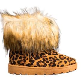 SHELOVET Mukluki cu blana de print Leopard
