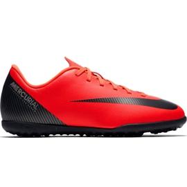 Pantofi de fotbal Nike Mercurial Vapor X 12 Club Gs CR7 Tf Jr AJ3106 600 roșu