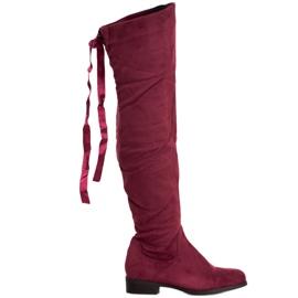 SHELOVET Cizme din piele de căprioară cu legătură roșu