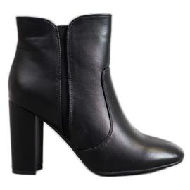 Super Mode Cizme negre cu piele ecologică negru