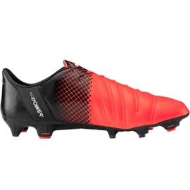 Pantofi de fotbal Puma evoPOWER 1.3 Lth Fg M 103850 01 negru, portocaliu