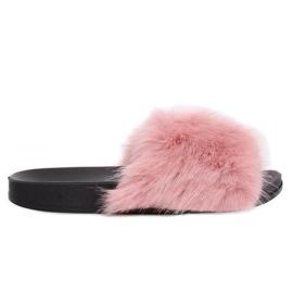 Papuci roz cu blană de blană CK107P Pink