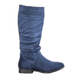 SHELOVET Cizme de piele de deasupra genunchiului albastru