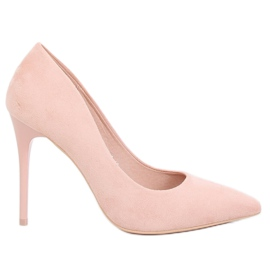 LE07P Pompe de căprioară roz pe călcâie roz