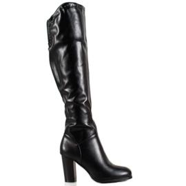 SHELOVET Cizme înalte cu piele ecologică negru