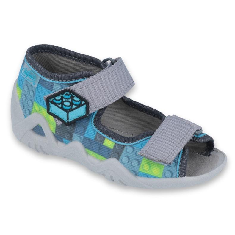 Pantofi pentru copii Befado galbeni 250P093 albastru gri multicolor