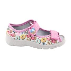 Pantofi pentru copii Befado 969X142 albastru roz gri verde galben