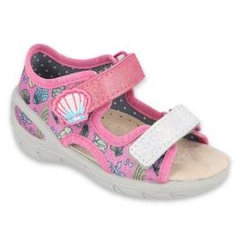 Pantofi pentru copii Befado 065X134 roz gri multicolor