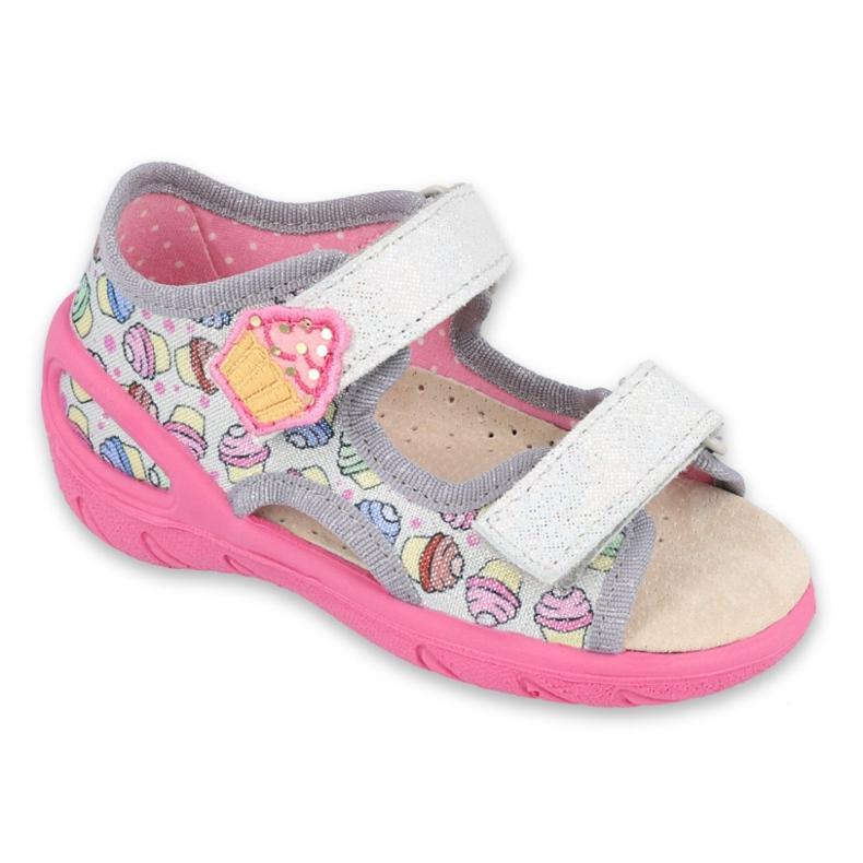 Pantofi pentru copii Befado 065X135 roz gri multicolor