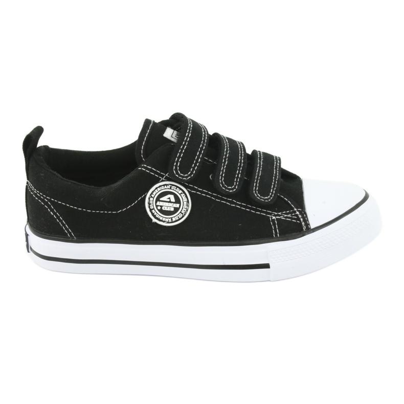American Club Adidași pentru copii americani cu Velcro LH33 alb negru