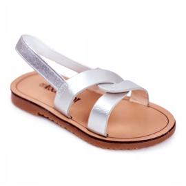 FRROCK Sandale Slip-on pentru copii cu bandă elastică Silver Bambino gri
