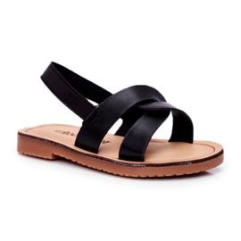 FRROCK Sandale pentru copii, din bambus negru, cu bandă elastică
