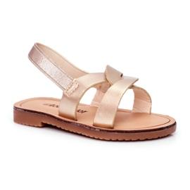FRROCK Sandalele pentru copii Alunecă cu o bandă elastică Golden Bambino de aur