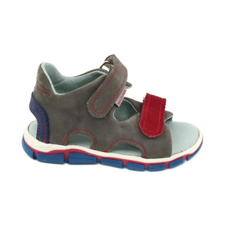 Sandale cu velcro Mazurek 314 gri / roșu albastru