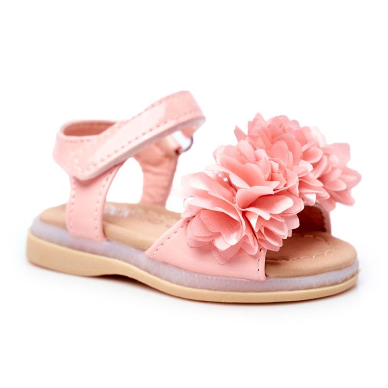 FRROCK Sandale pentru copii cu velcro strălucitor roz Milena