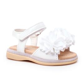 FRROCK Sandale pentru copii cu velcro strălucitor alb Milena