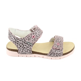 Sandale roz Bartek cu imprimeu leopard 76183-BBK bej gri