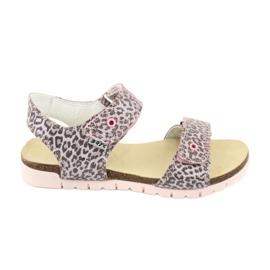 Sandale roz Bartek cu imprimeu leopard 79183-BBK bej gri