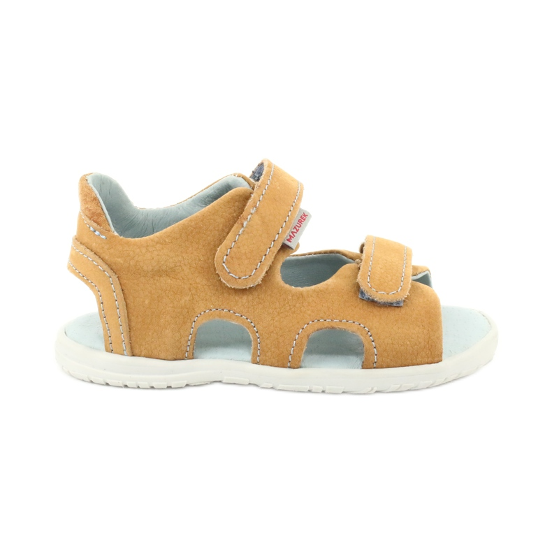 Sandale cu velcro Mazurek 314 camel multicolor galben