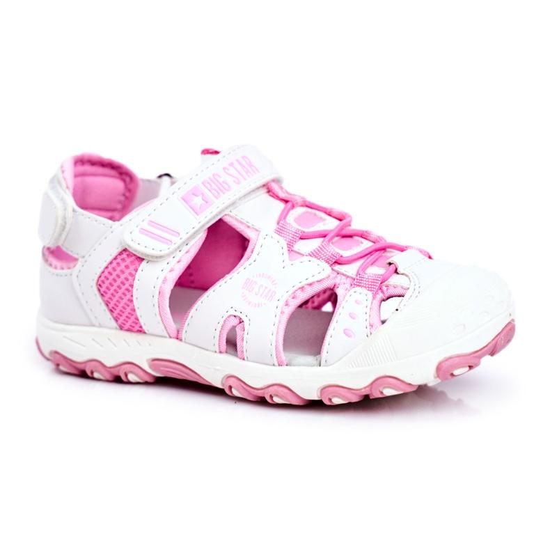 Sandale copii Big Star cu velcro alb FF374207 roz