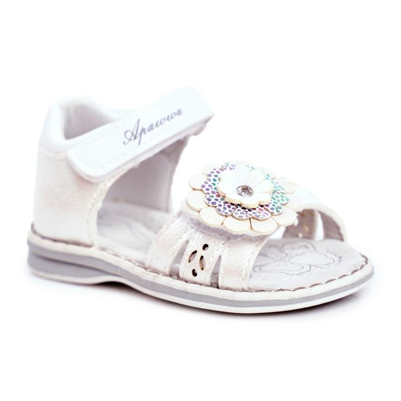 Apawwa Sandale pentru copii cu Velcro Flower White Mino alb multicolor galben