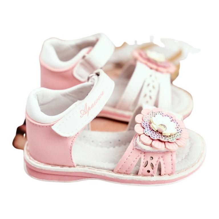 Apawwa Sandale pentru copii cu Velcro Flower Pink Mino roz