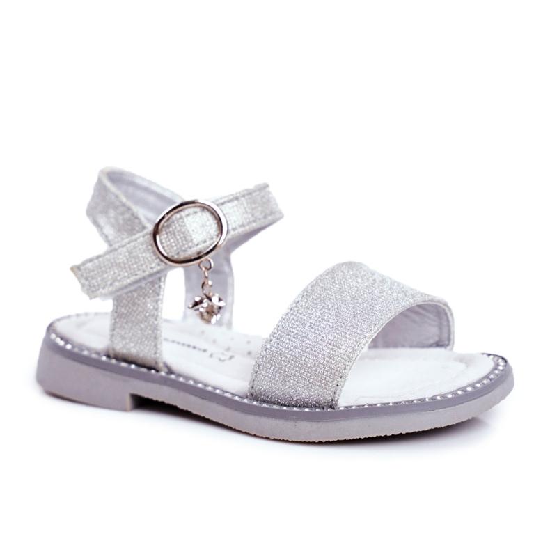 Apawwa Sandale pentru copii cu Velcro Silver Brocade Verden gri
