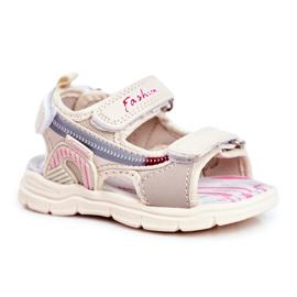PL1 Sandale pentru copii cu velcro Beżowe Grobino bej