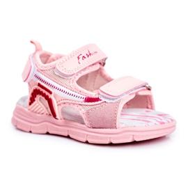 PL1 Sandale pentru copii cu velcro roz Grobino