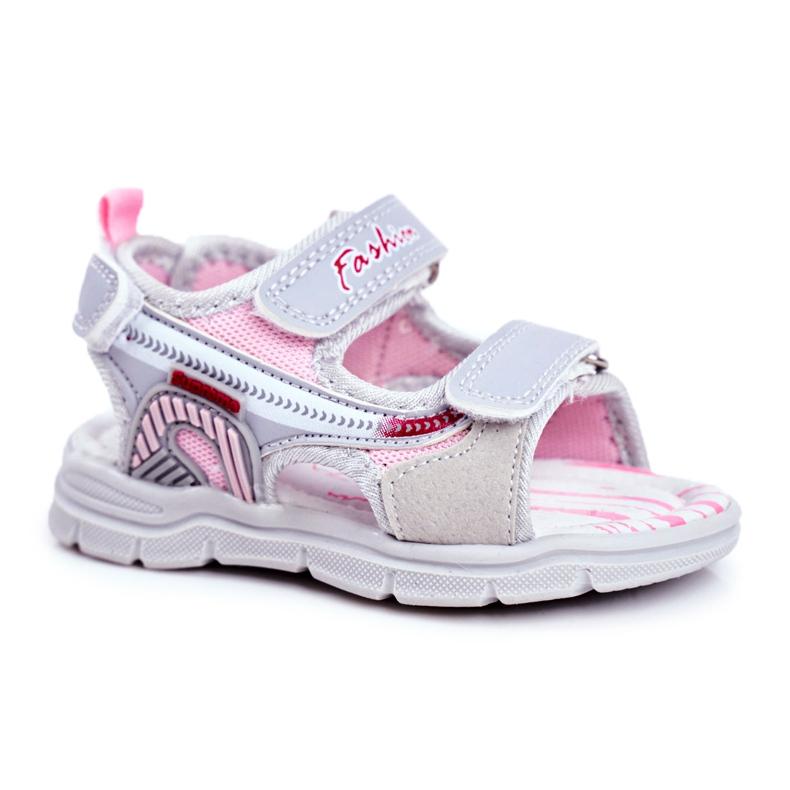 PL1 Sandale pentru copii cu velcro gri Grobino roz