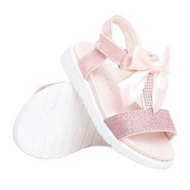 FRROCK Sandale pentru copii cu velcro pentru fete șampanie Bella multicolor roz