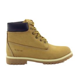 B.one galben Trappers pantofi din piele 291 cămilă