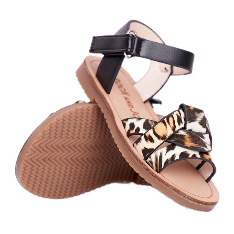 FRROCK Sandale pentru copii cu velcro Panterka Mimi maro negru portocale