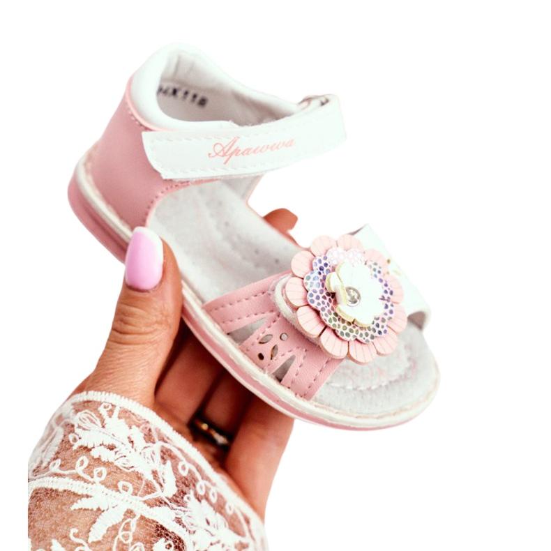 Apawwa Sandale pentru copii cu Velcro Flower Pink Mino alb roz