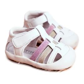 Apawwa Sandale pentru copii cu Velcro Glitter Alb Ontario roz de aur