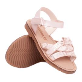 FRROCK Sandale pentru copii cu velcro pentru fete roz Lilo galben