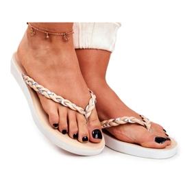 SEA Papuci pentru femei Flip-flops Curea împletită Beeg Peggie maro