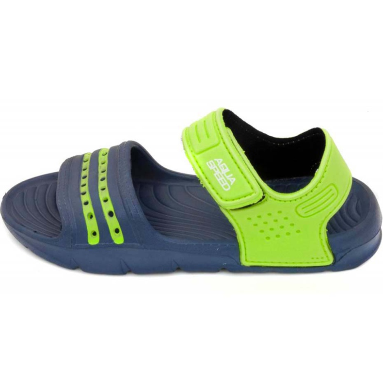 Papuci de piscină Aqua-speed Noli pentru copii, bleumarin și verde col. 48 albastru marin