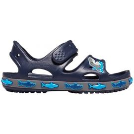 Sandale Crocs pentru copii Crocs Fl Shark Band Sandal B bleumarin 206365 410 albastru marin