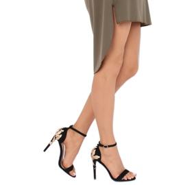 Sandale pe un stiletto negru 708-18 Negru 1