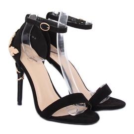 Sandale pe un stiletto negru 708-18 Negru 3