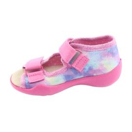 Pantofi pentru copii Befado 342P005 curcubeu albastru gri galben roz 3