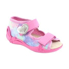 Pantofi pentru copii Befado 342P005 curcubeu albastru gri galben roz 2