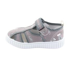 Pantofi pentru copii gri American Club cu velcro TEN 27/19 alb 2