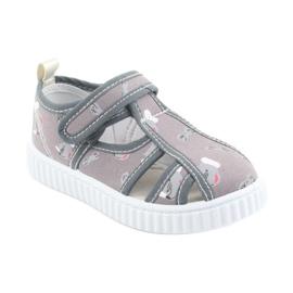 Pantofi pentru copii gri American Club cu velcro TEN 27/19 alb 1