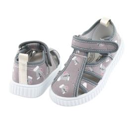 Pantofi pentru copii gri American Club cu velcro TEN 27/19 alb 3