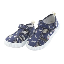 Pantofi pentru copii American Club bleumarin cu velcro TEN 27/19 alb albastru marin gri 3