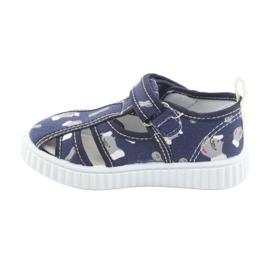 Pantofi pentru copii American Club bleumarin cu velcro TEN 27/19 alb albastru marin gri 2